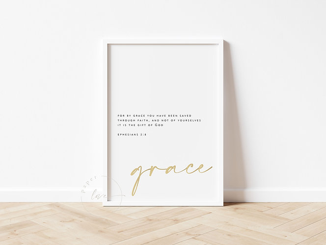 Inspired Prints | Gold Foil | Ephesians 2:8 | Grace