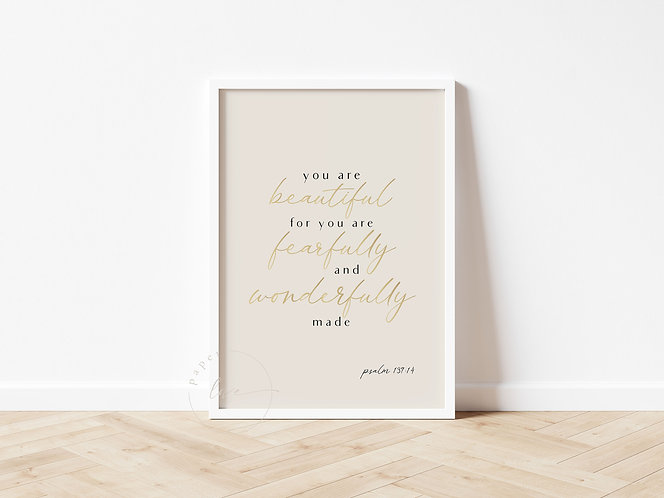 Inspired Prints | Gold Foil | Psalm 139:14 | Wonderfully made