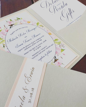Paper Love Invites   Blush Floral Gold Foiled Pocket Invitations