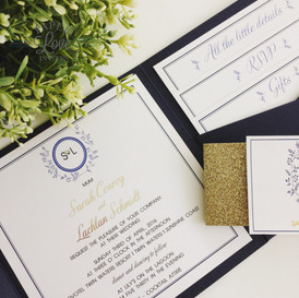 Paper Love Invites | Navy pocket invitation with gold foil and diamantes