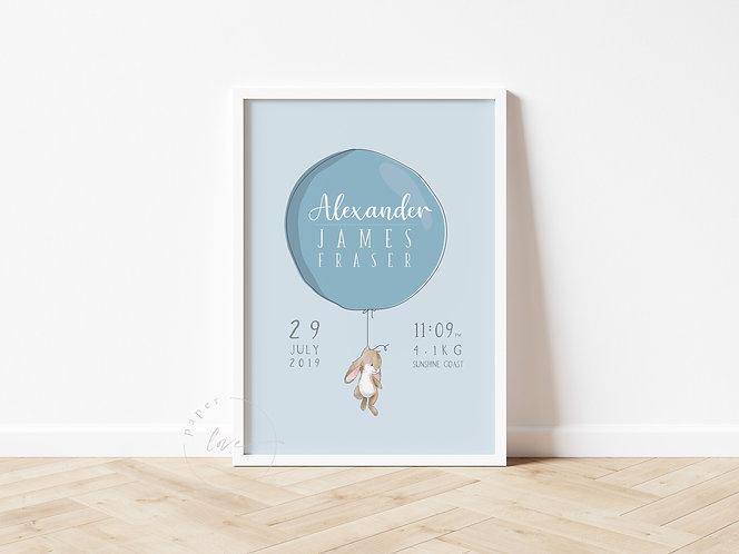 Balloon Bunny Birth Print | Alexander