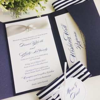 Paper Love Invites   Navy pocket invitation with nautical theme