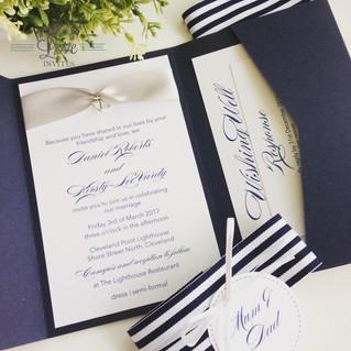 Paper Love Invites | Navy pocket invitation with nautical theme