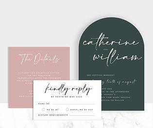 Modern arch shape wedding invitation suite