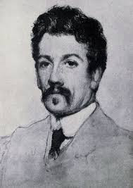 Crayon Potrait of JM Synge by James Patterson 1906