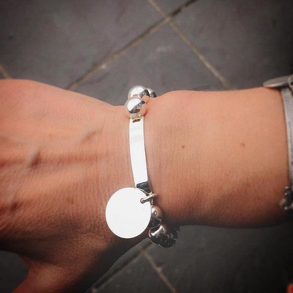 Bracelet élastique pampille argent