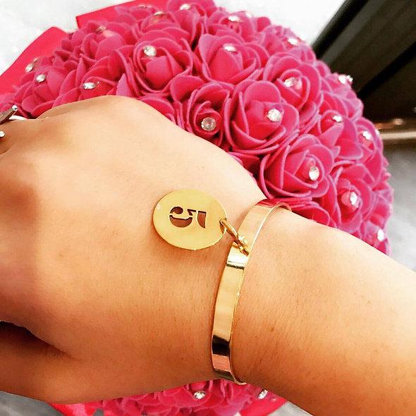 Bracelet ouvert personnalisable doré