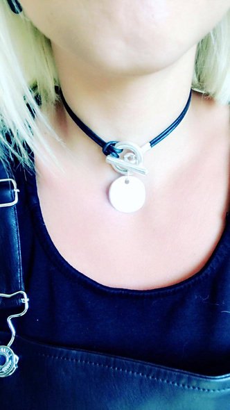 Collier cuir slash zéro blondy