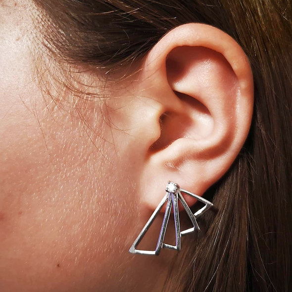 Boucle d'oreille argent rhodié