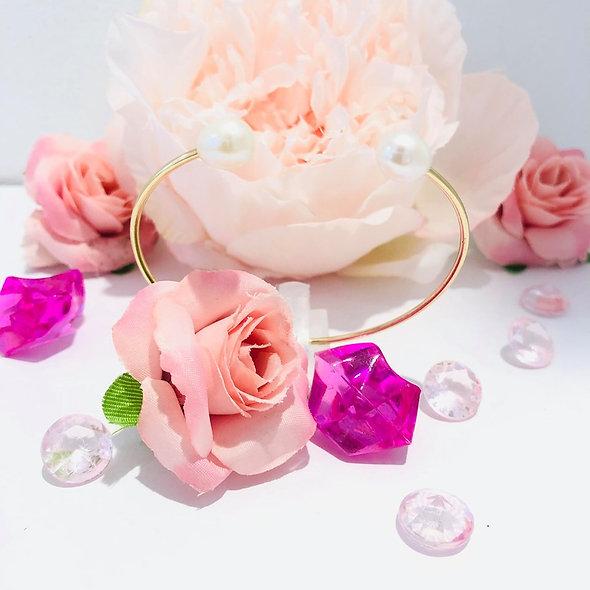 Bracelet ouvert perle blanche