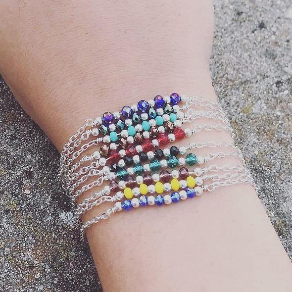Bracelet cristaux barrette argent