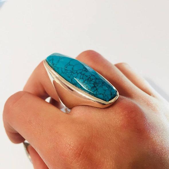 Bague pierre fine, turquoise ♥
