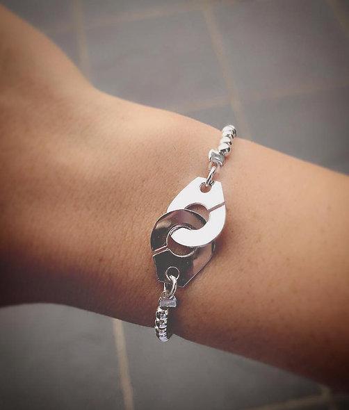 Bracelet élastique menottes argent
