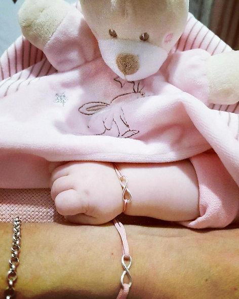 Bracelet maman enfant et bébé argent