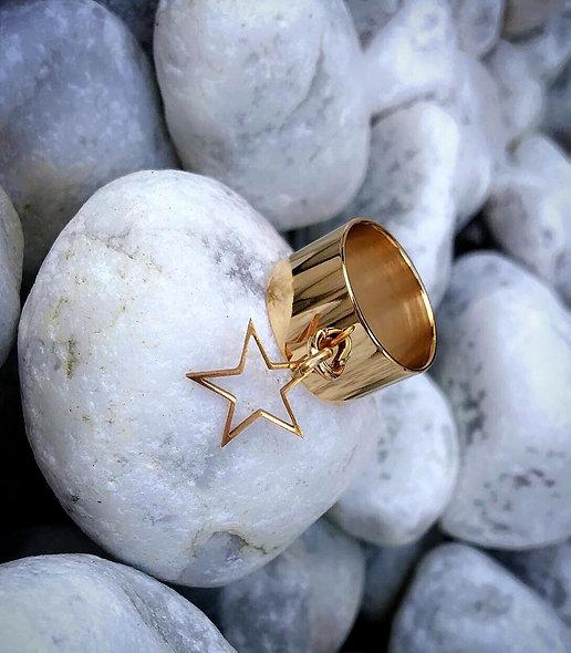 Bague star acier doré