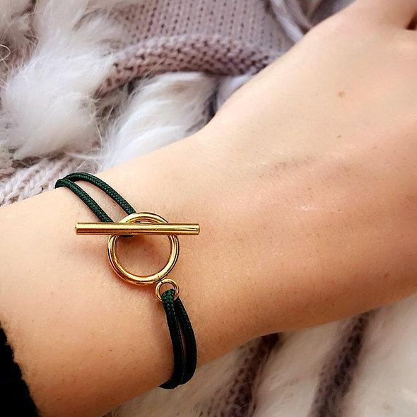 Bracelet cordon fermoir T acier