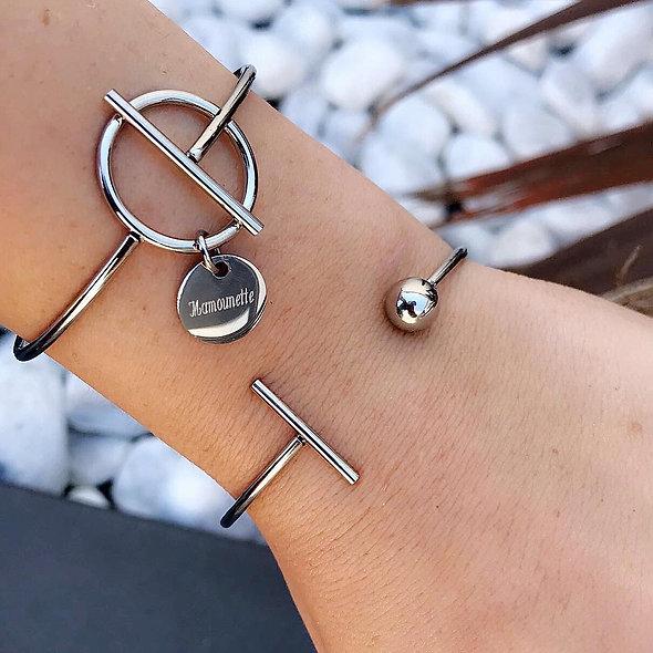 Bracelet slash zéro pampille acier
