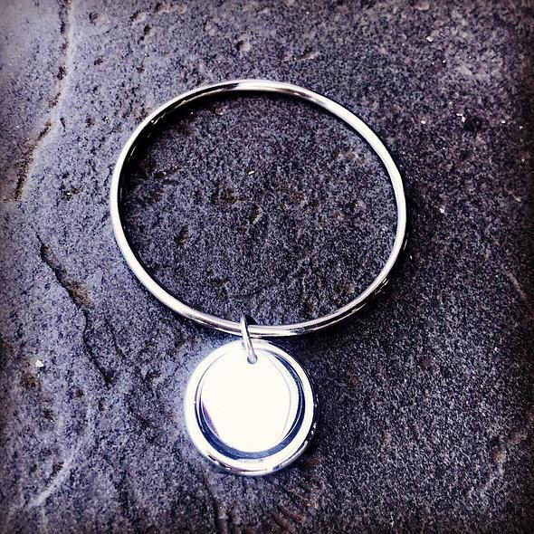 Jonc cercle évidé + pampille 20mm acier ♥