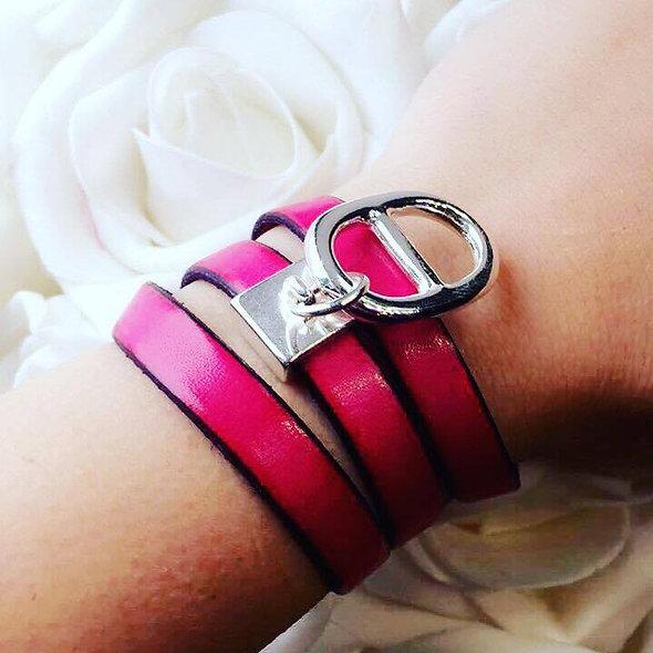 Bracelet cuir pampille marine