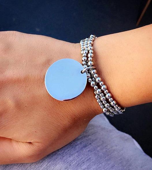 Bracelet élastique perles et pampille acier inoxydable