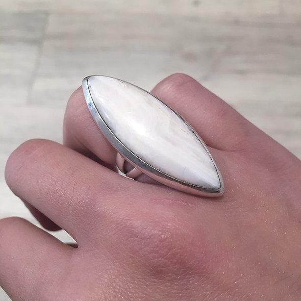 Bague pierre fine, obsidienne blanche ♥