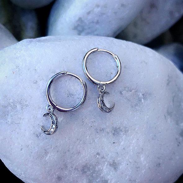 Mini créole lune argent 925