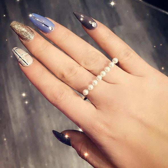 Bague double doigt argent perle ♥