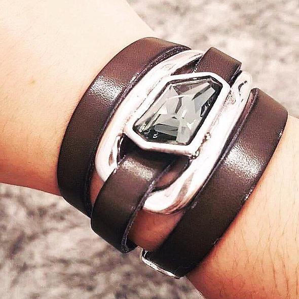 Bracelet cuir pierre swarovsky