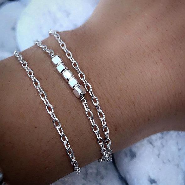 Bracelet multi rangs argent