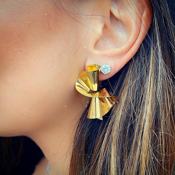 Boucle d'oreille acier doré