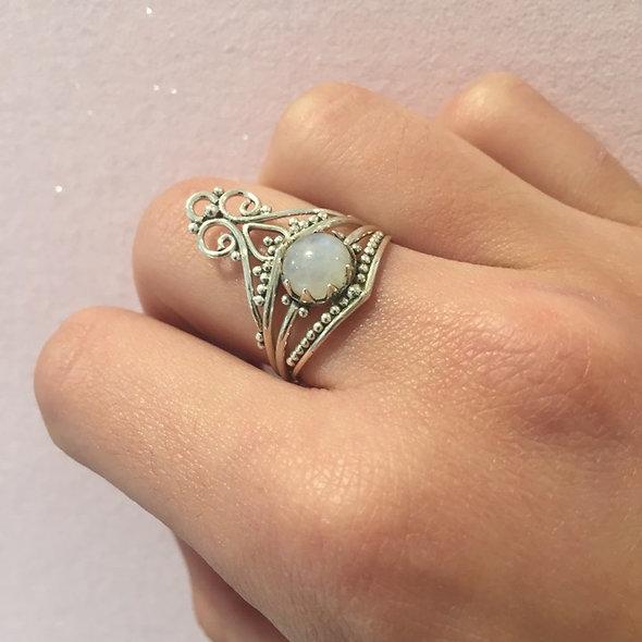 Bague pierre fine, quartz blanc ♥