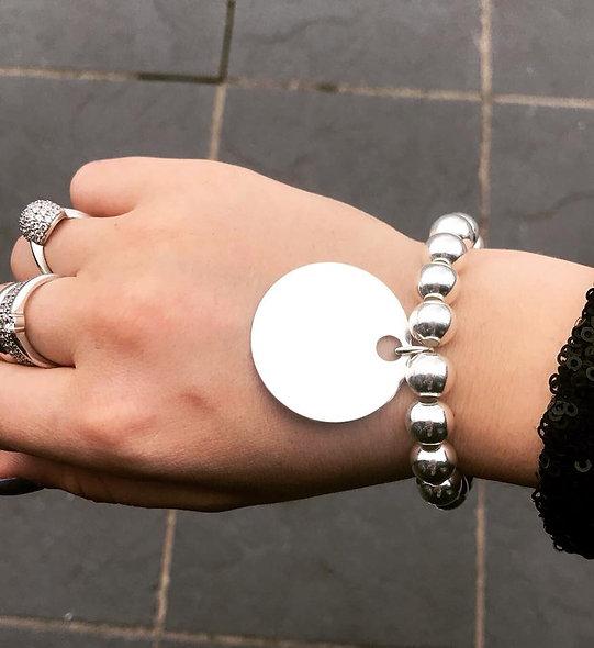Bracelet élastique grande pampille argent