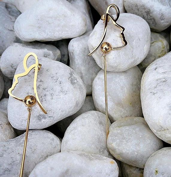 Boucle d'oreille missis acier doré
