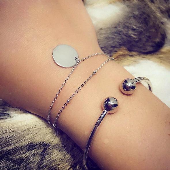 Bracelet double Téo argent