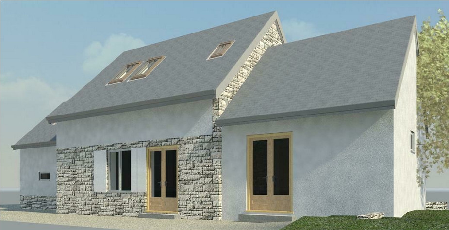 Extension in France, rear 3D view