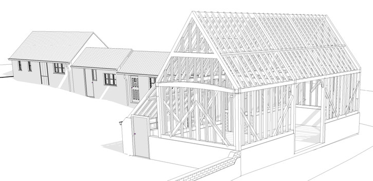 Computer model of the timber frame