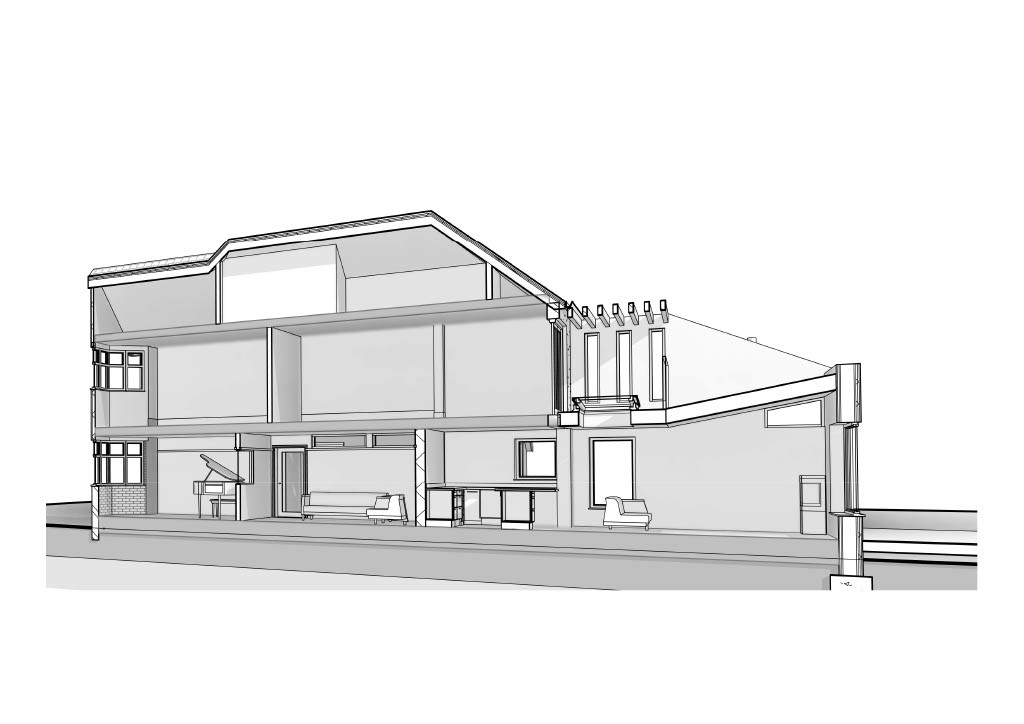 Section through the ground floor extension and the new first floor terrace