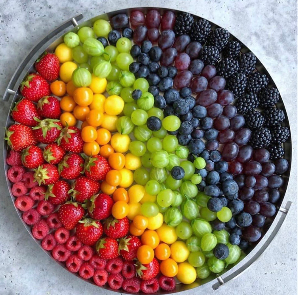 Photo of round bowl of fruit in a rainbow of colors