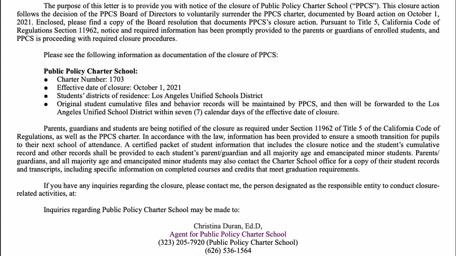 Official Closure of Public Policy Charter School