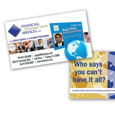 FINANCIAL TRANSACTION SERVICES BUSINESS CARD DESIGN AND PRINT