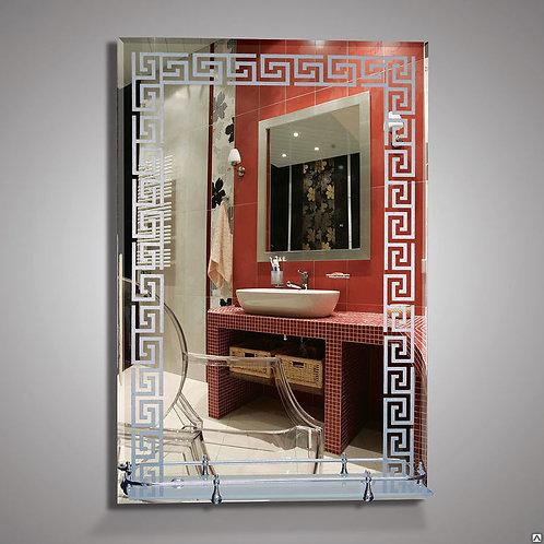 Зеркало 46815в  фацет с орнаментом полка с пластиковым бортиком 50 см