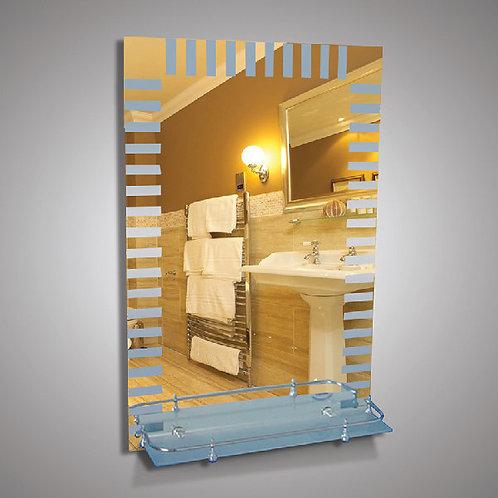 Зеркало 46166в с матовым рисунком + полка 50 см пластиковым бортиком