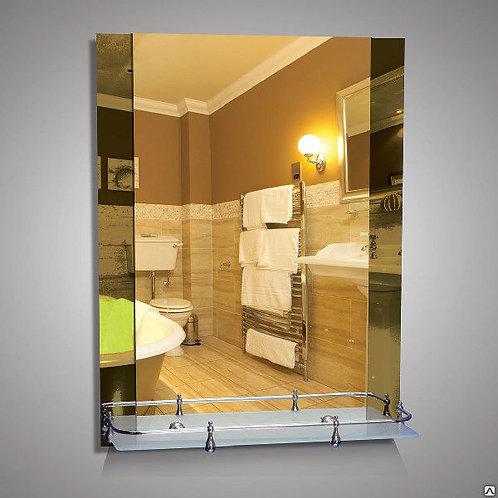 Зеркало с бронзовыми вставками + полка 50 см пластиковым бортиком 46225в
