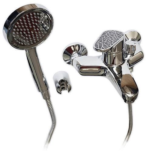BRIMIX - Смеситель в ванную шаровый короткий нос ручка с черной мозаикой 3310