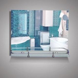 Зеркало 46150в с кромкой + полка 50 см с пластиковым бортиком
