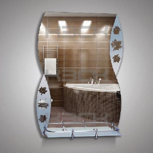 Зеркало 46159в  с матовыми вставками (листья) + полка 40 см пластиковым бортиком