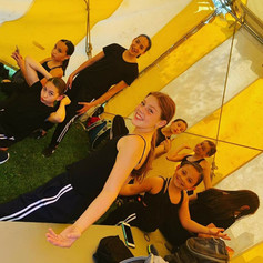 Studio 49 dancers in between shows at the Alaska State Fair.