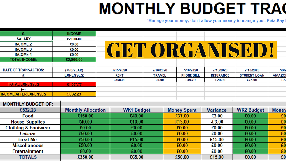 Monthly Finance & Budget Tracker