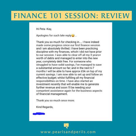 Finance 101 progress update