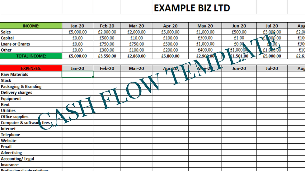 Business Cash flow template